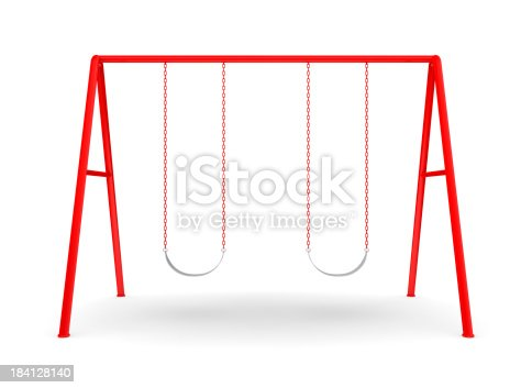 Red swing set isolated on white.