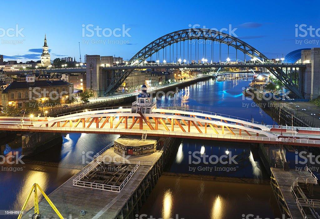 Swingbridge and Tyne Bridges stock photo