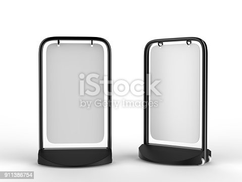 istock Swinger Pavement double sided  blank white Board for mock up and branding presentation, budget pavement sign. Ideal for pubs and shops. 3d render illustration. 911386754