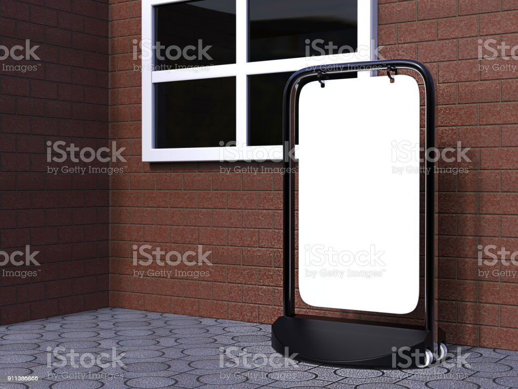 Swinger Pavement double sided  blank white Board for mock up and branding presentation, budget pavement sign. Ideal for pubs and shops. 3d render illustration. stock photo