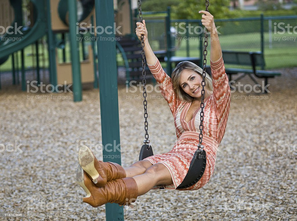 Swinging at the Park royalty-free stock photo