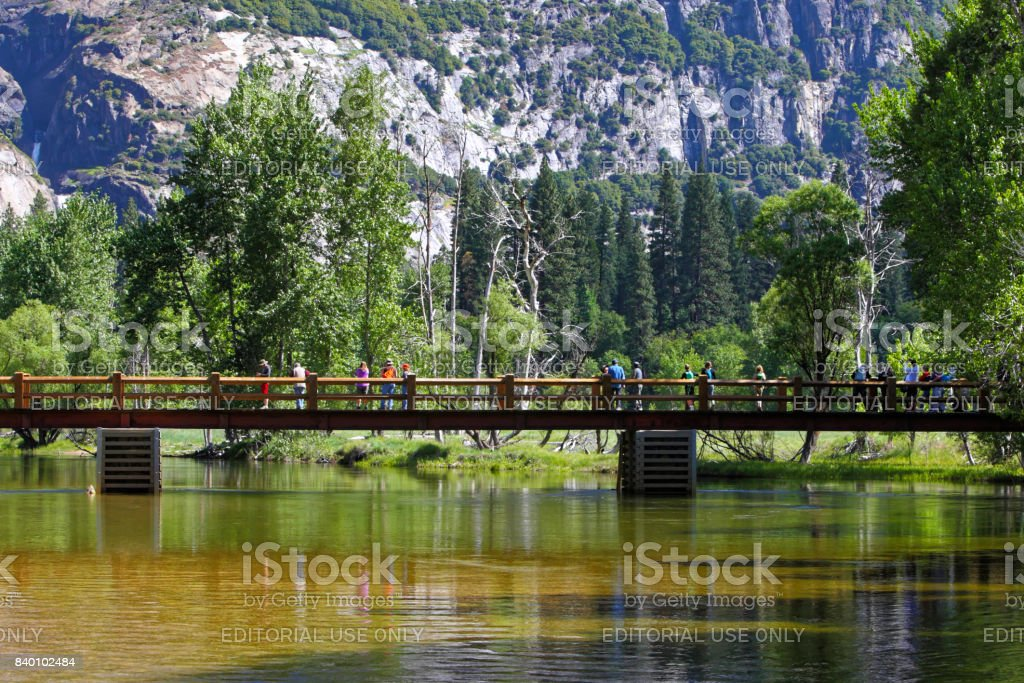 Swinging bridge and Yosemite fall in summer stock photo