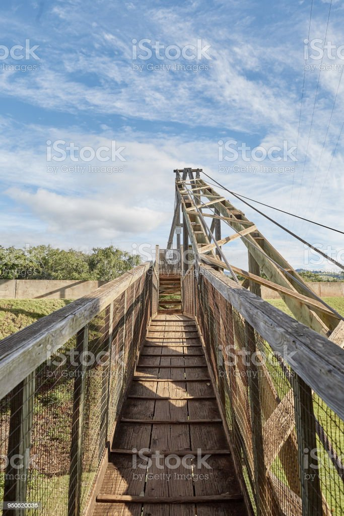 Swinging Bridge In Old Hanapepe Town Kauai Hawaii Stock