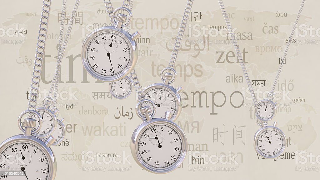 Swinging retro stopwatches against same inscriptions in different languages. Time stock photo