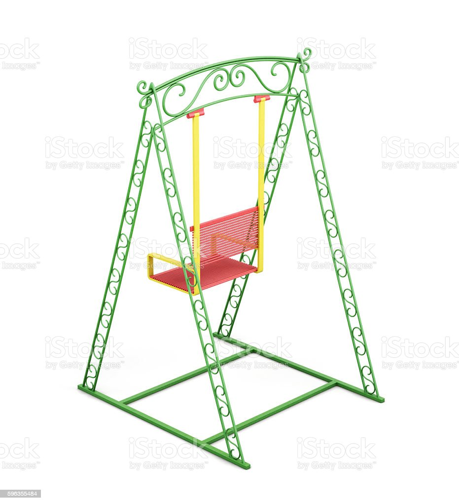 Swings for kids isolated on white background. 3d rendering royalty-free stock photo