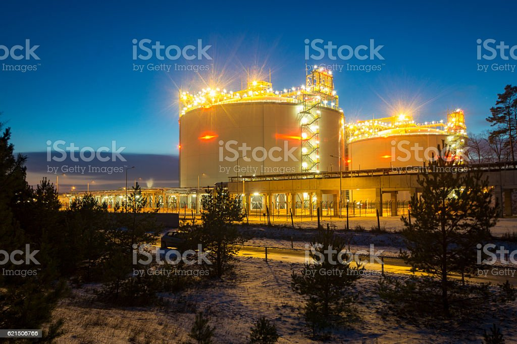 Swinoujscie,Poland,January 2016:LNG terminal in Swinoujscie,Pola stock photo