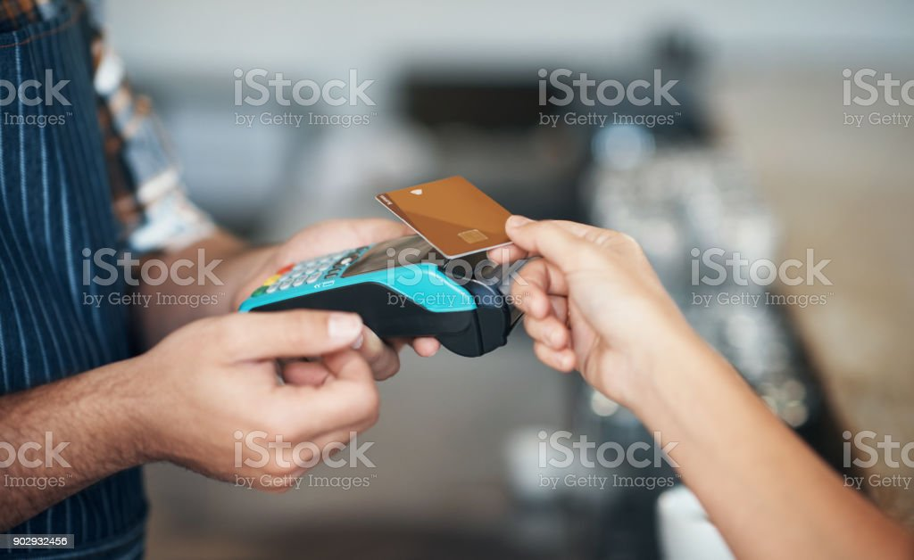 Swipe and pay stock photo