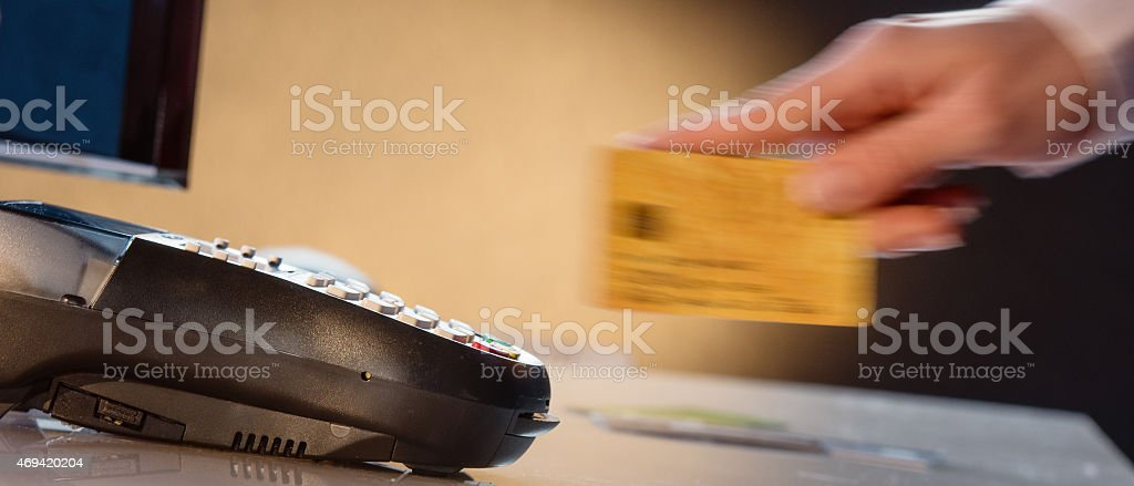 Swiping Credit Card stock photo