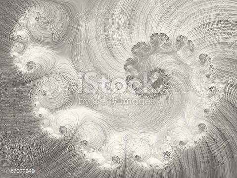 istock Swirl Silver Golden Spiral Nautilus Seashell Abstract Vortex Fractal Fine Art Glittering Gray Ombre Wave Pattern 1157022649