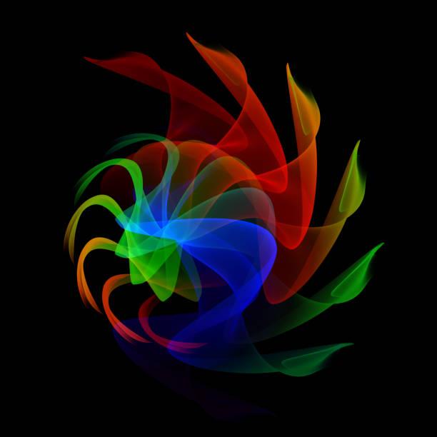 漩渦螺旋彩虹霓虹燈波抽象噴氣發動機渦輪葉片推進器風扇黑色背景彩色絲帶漩渦 - 黃金比例 個照片及圖片檔