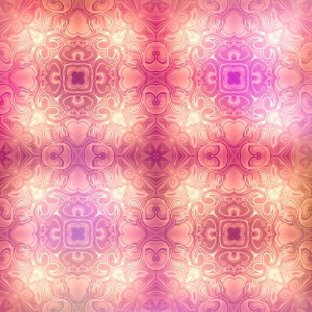 Swirling Abstract Art Repeating Pattern in Pink, Purple, white and orange stock photo