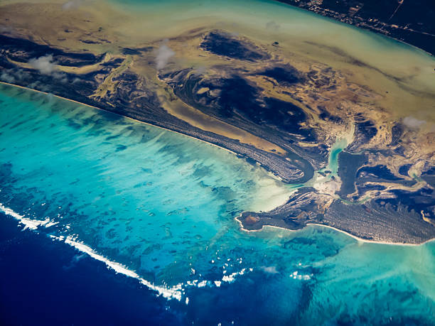Swirling pattern aerial view of Caribbean islands stock photo