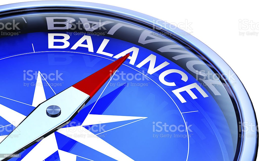 Swish graphic illustrating balance with a compass stock photo
