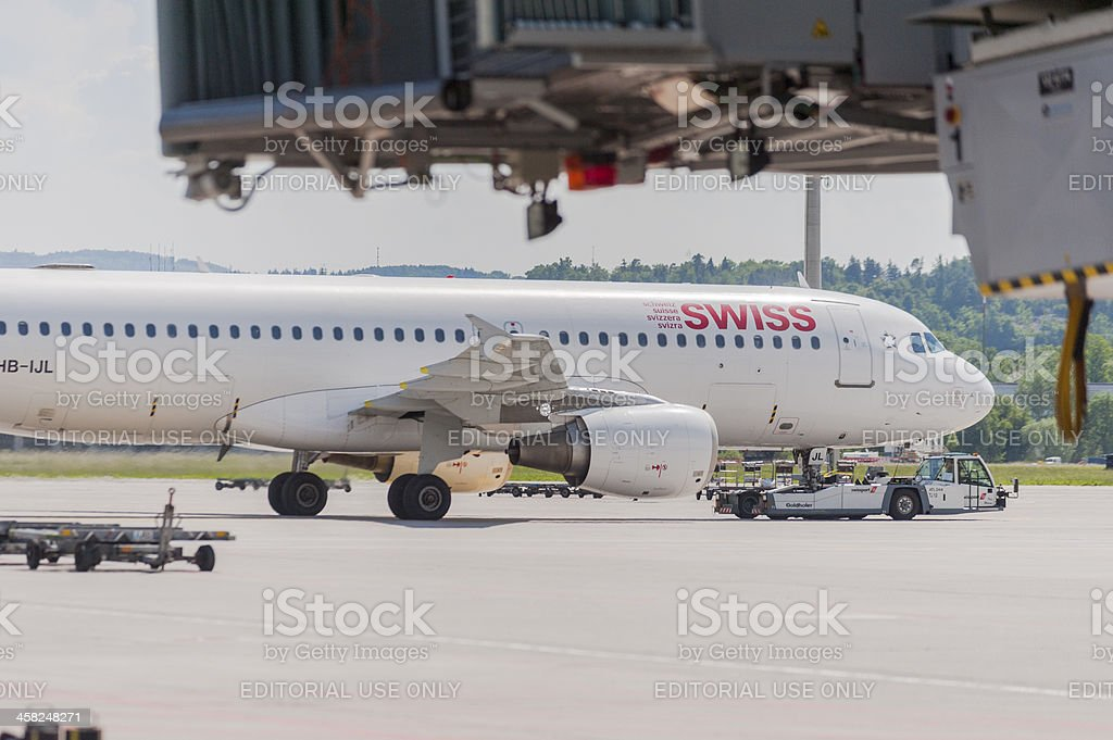 Swiss Airbus aircraft on the ground leaving gate to runway royalty-free stock photo