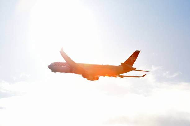 Swiss Airbus fly to the sun stock photo