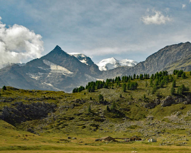 Swiss Alp view stock photo