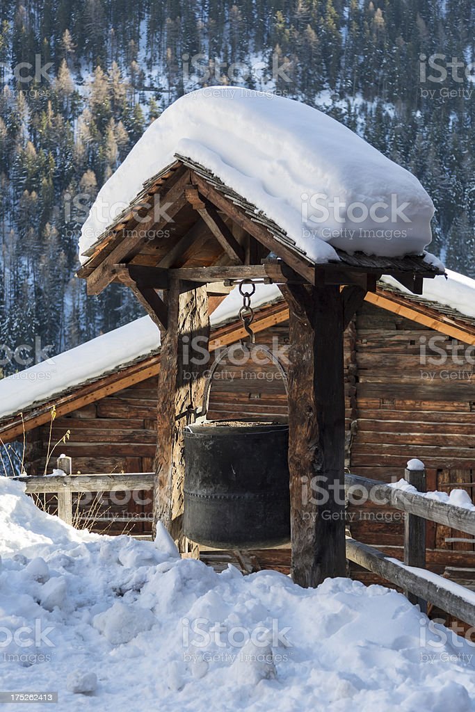 Swiss alpine Chalet and Village covered in snow, Kettle royalty-free stock photo