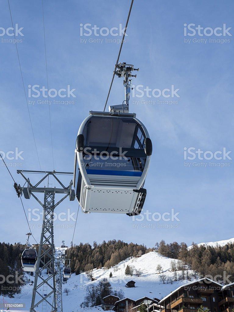 Swiss alpine resort ski gondola royalty-free stock photo
