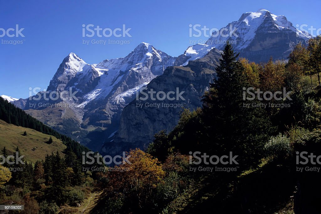Swiss Alps & Fall colors stock photo