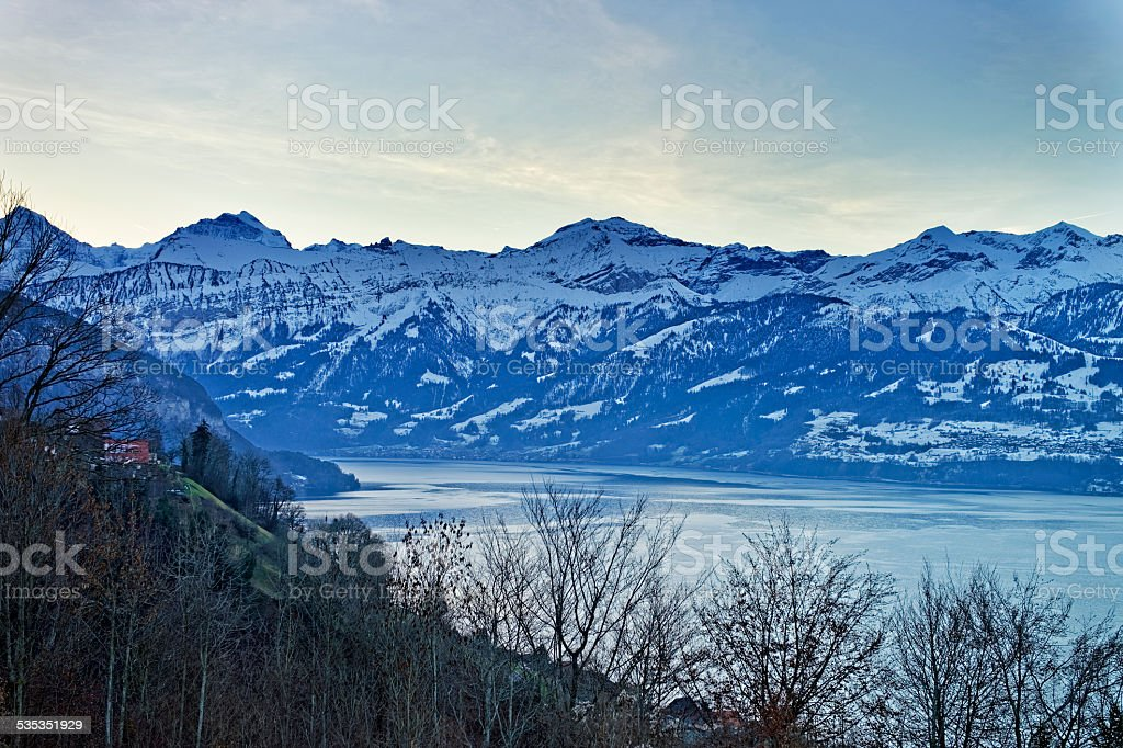 Swiss Alps and lake view near Thun lake in winter stock photo