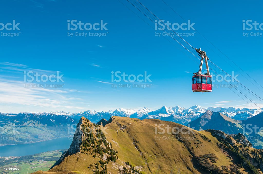 Swiss Alps Cable Car stock photo