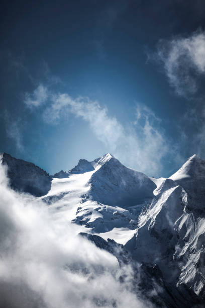 swiss alps cloud and mountain scape, switzerland stock photo