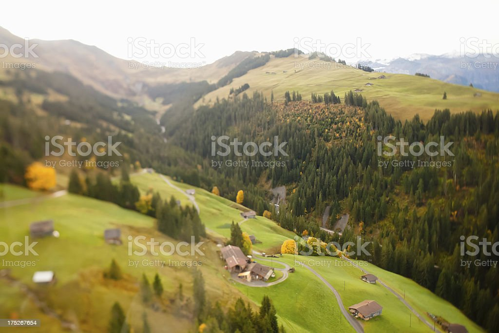 Swiss Alps in Autumn Aerial View royalty-free stock photo