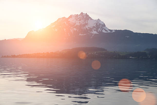 swiss alps lucerne lake sunset - lucerne stock pictures, royalty-free photos & images