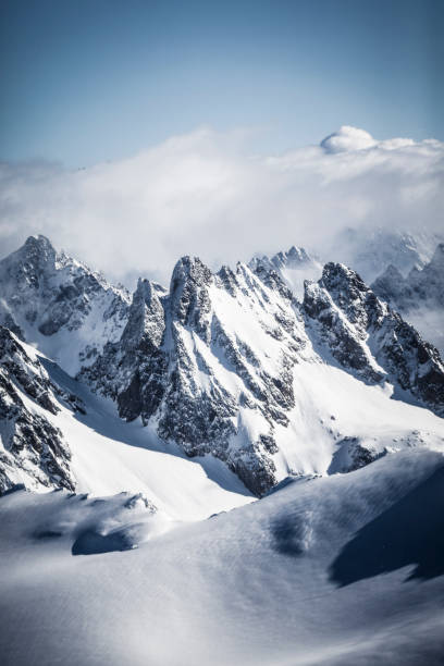 swiss alps mountain view - snowy mountains stock photos and pictures