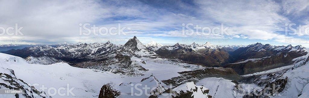 Swiss Alps Panoramic (with Matterhorn) royalty-free stock photo