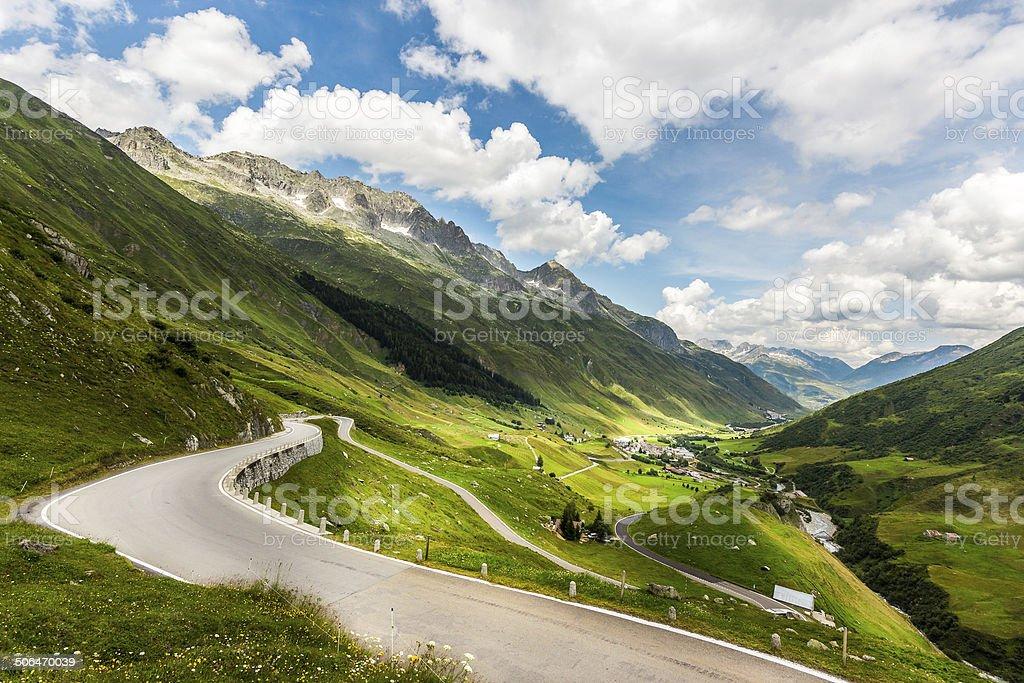 Swiss alps pass stock photo