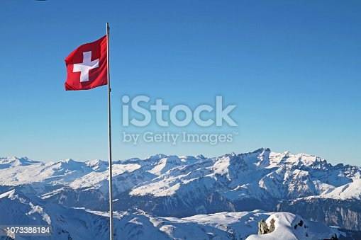 flagpole in the swiss alps