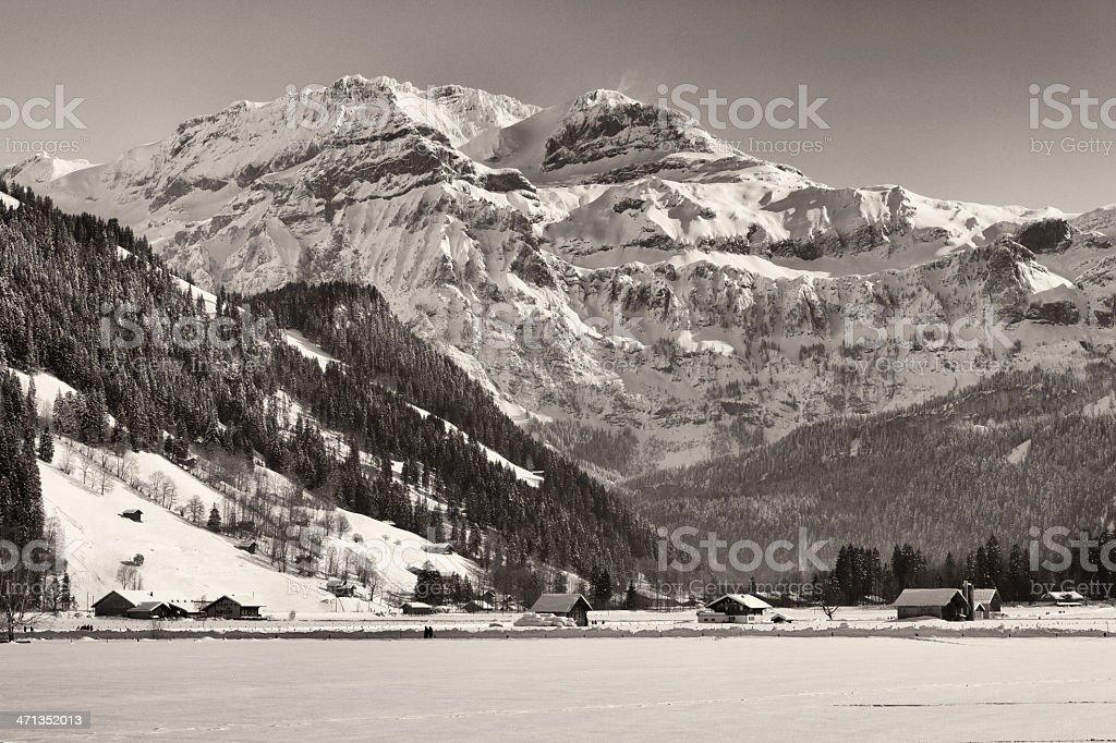 Swiss Alps, The Wildstrubel in Winter, Lenk stock photo
