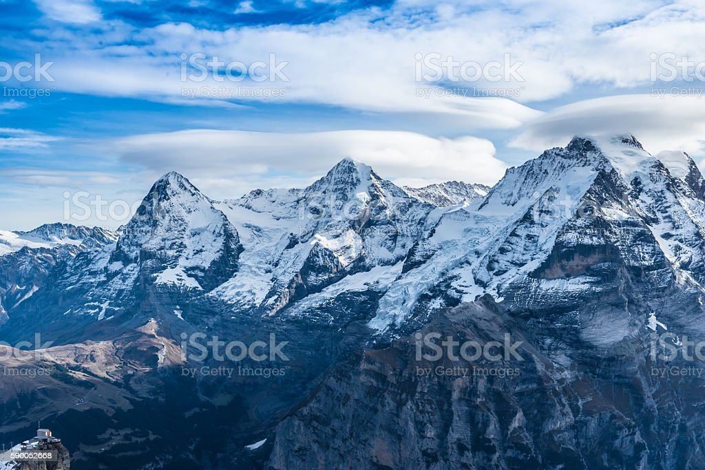 Swiss Alps with first snow stock photo