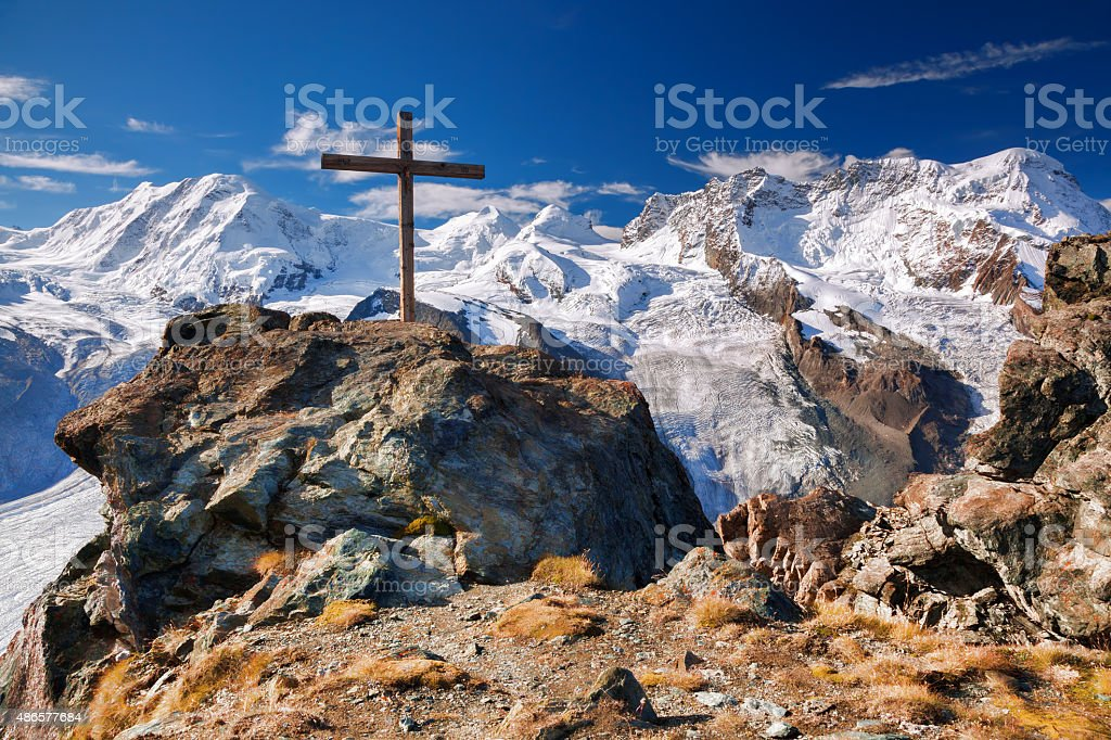 Swiss Alps with glaciers, the Matterhorn area stock photo