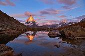 Swiss Alps's Matterhorn at sunrise, Zermatt, Switzerland.