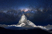 Swiss Alps's Matterhorn and beautiful milky way in midnight sky.