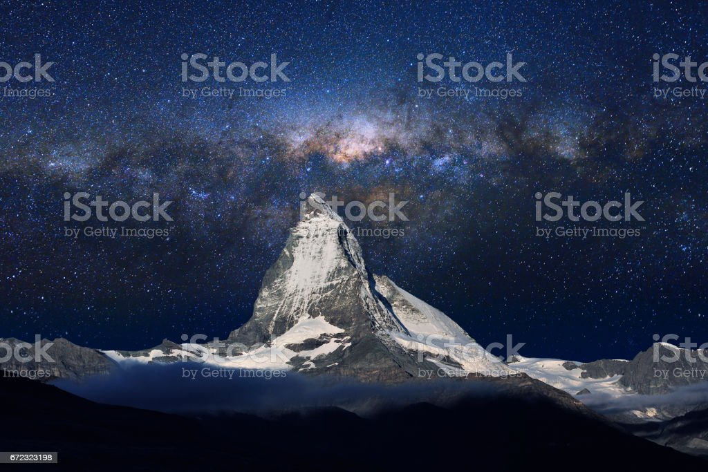 Swiss Alps's Matterhorn in Midnight Sky stock photo