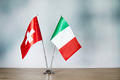 Swiss and Italian flag standing on the table