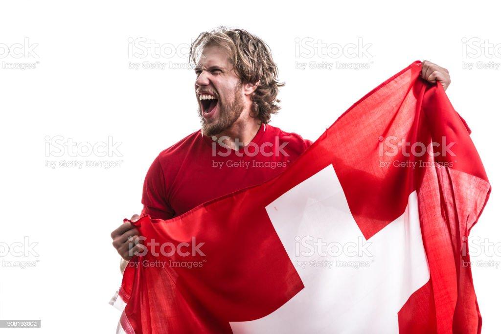 Atleta Suíça / ventilador comemorando em fundo branco - foto de acervo