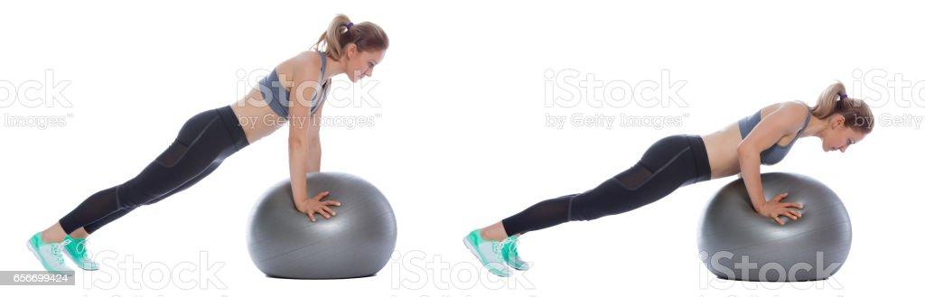 Swiss ball exercise stock photo