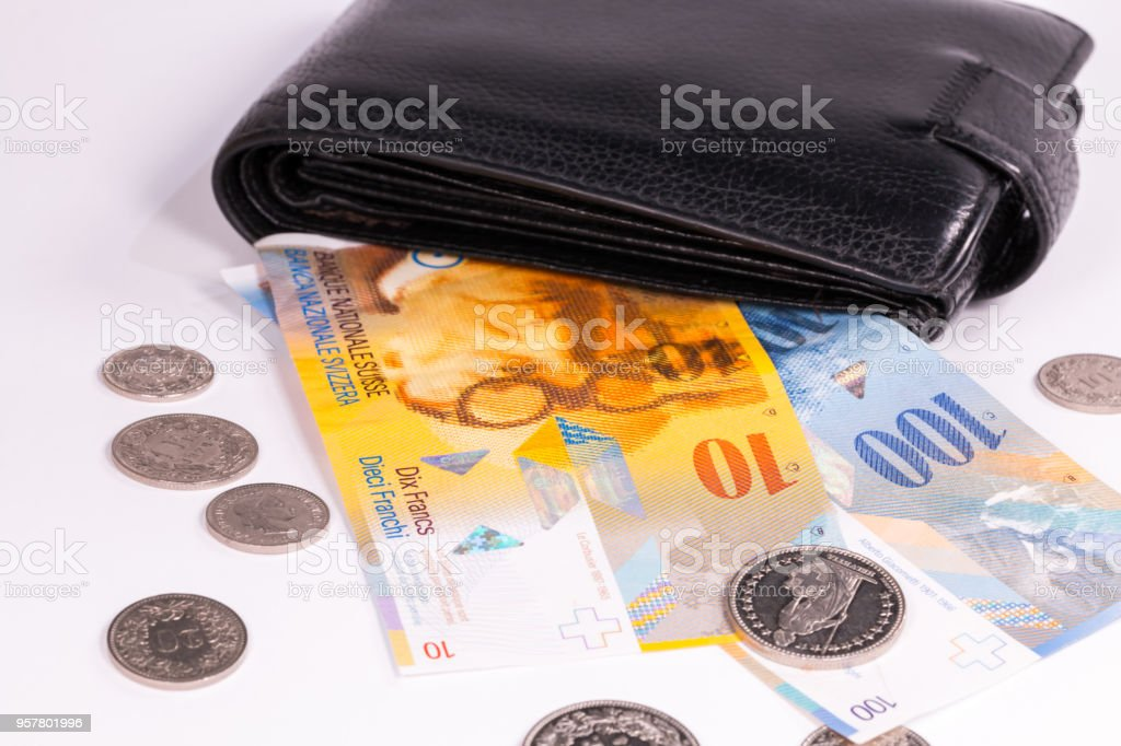 Swiss banknotes and coins in a wallet on a white stock photo