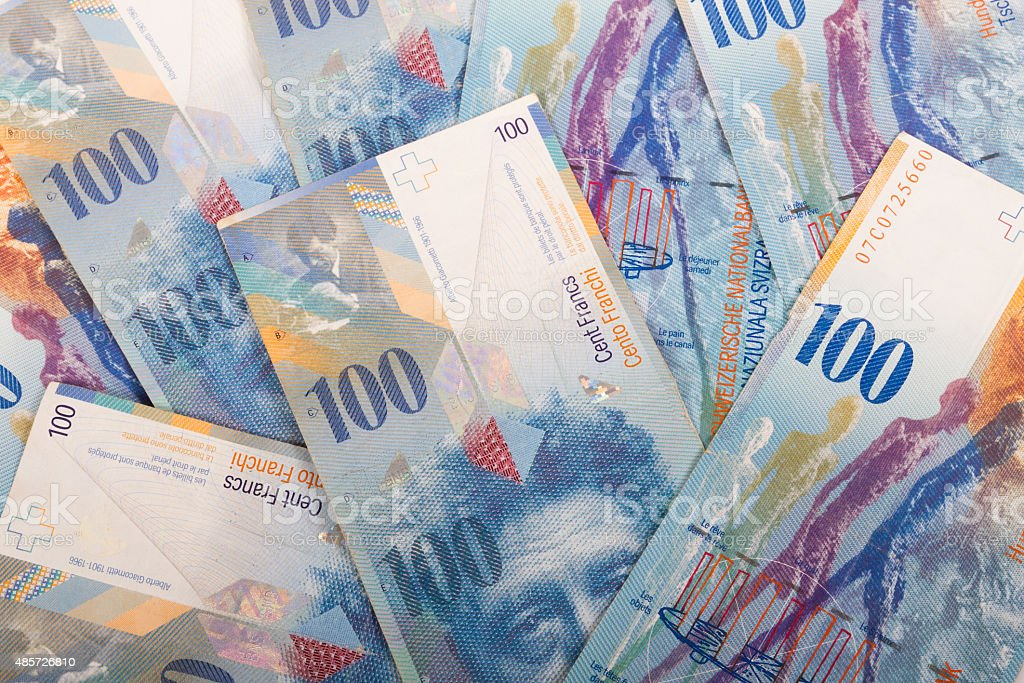 100 CHF Swiss banknotes stock photo