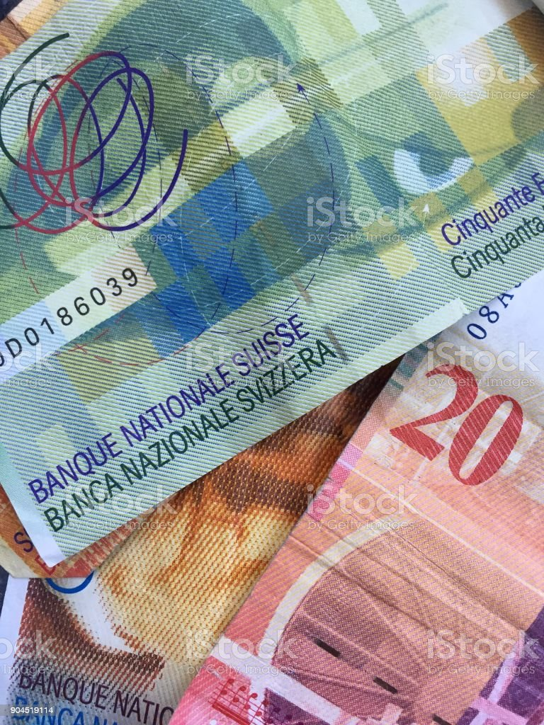 Swiss banknotes stock photo