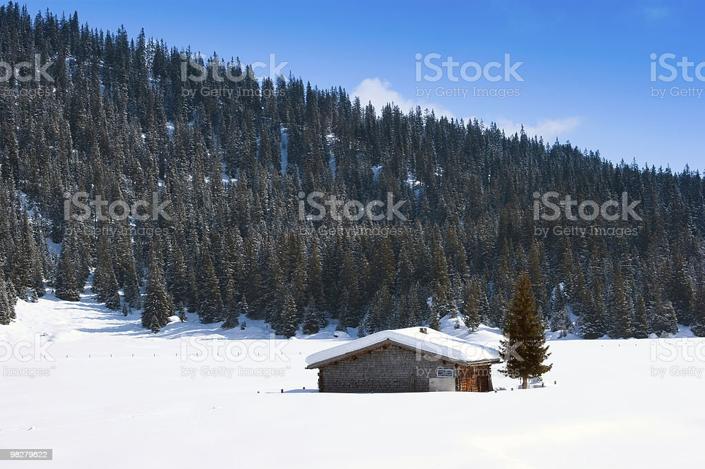 Swiss Barn in Winter royalty-free stock photo