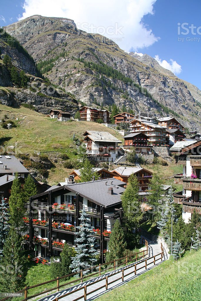 Swiss Chalets in Summer Near Zermatt, Switzerland royalty-free stock photo