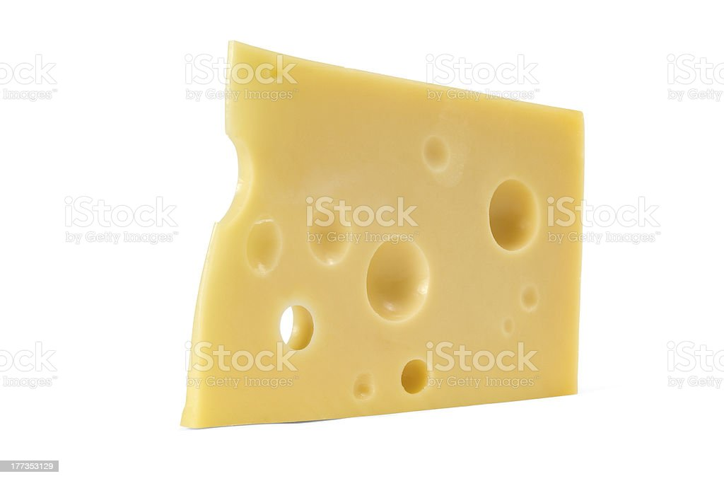 Swiss cheese with holes on a white background. royalty-free stock photo