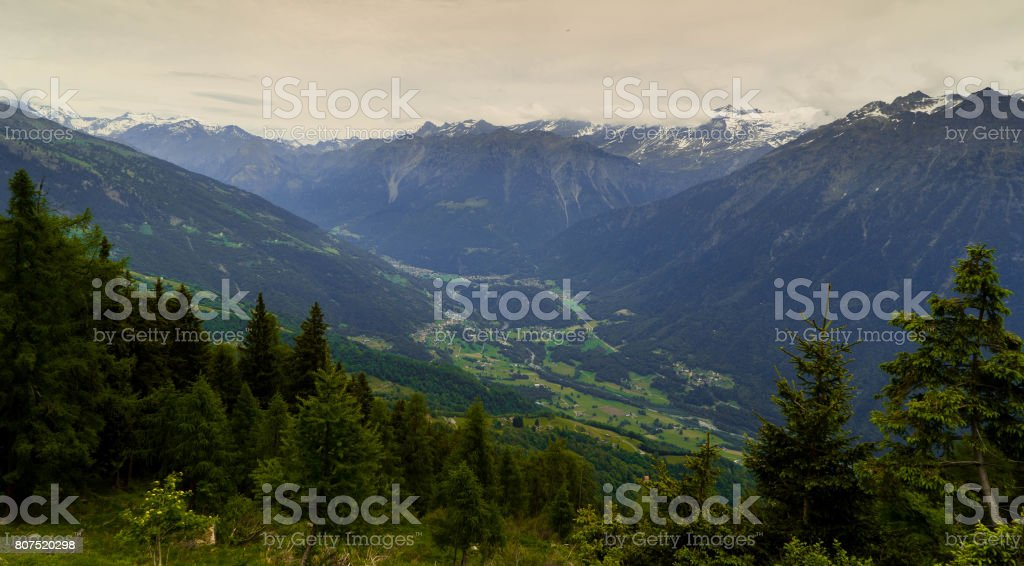 Swiss cities and villages in the Alpine mountains in Canton Tessin. stock photo