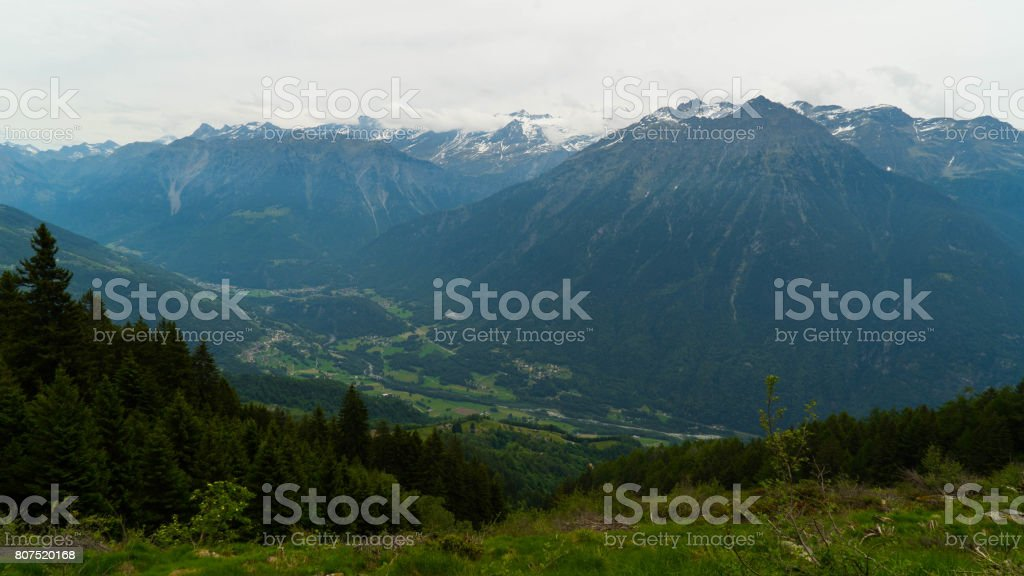 Swiss cities and villages in the Alpine mountains. stock photo