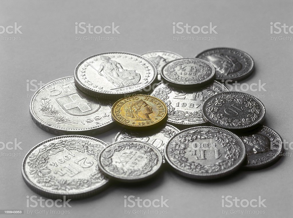 Swiss coins. stock photo